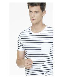 Express | Blue Striped Crew Neck Pocket Tee for Men | Lyst