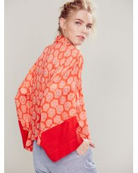 Free People Red Fp One Shibori Kimono