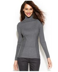 INC International Concepts Gray Ribbed-Knit Turtleneck Sweater