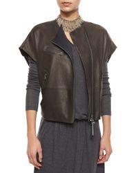 Brunello Cucinelli - Gray Short-sleeve Leather Zip Jacket - Lyst