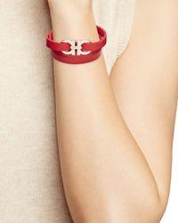 Ferragamo - Red Double Gancini Triple Wrap Oro Bracelet - Lyst