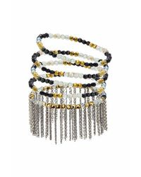 TOPSHOP - Green Bead And Chain Drop Bracelet Pack - Lyst