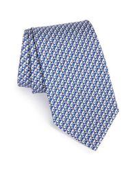 Ferragamo Blue Greyhound Print Silk Tie for men