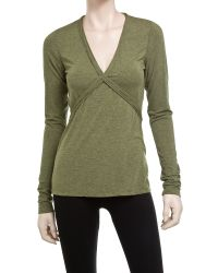 Leon Max - Green Long Sleeve V-neck Wool Top - Lyst