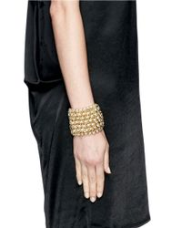 Kenneth Jay Lane - Metallic Chain And Pearl Elasticated Bracelet - Lyst