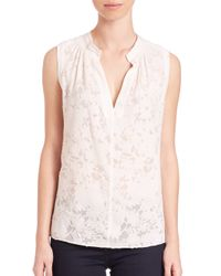 Rebecca Taylor - Natural Lace Sleeveless Top - Lyst