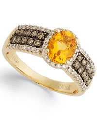 Le Vian - Citrine (1 Ct. White Diamond (1/4 Ct. T.w.) And Chocolate Diamond (1/3 Ct. T.w.) Oval Ring In 14k Gold - Lyst