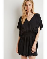 Forever 21 - Black Smocked Floral Eyelet Dress - Lyst