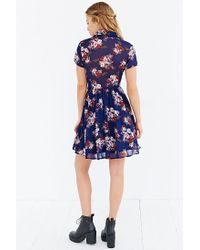 Lucca Couture Blue Floral Shirt Dress