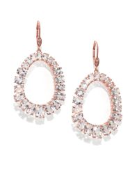 Meira T | Pink White Topaz, Diamond & 14K Rose Gold Earrings | Lyst