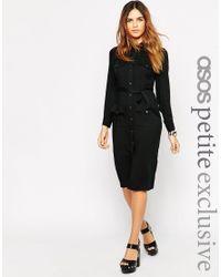 ASOS | Black Petite 70's Shirt Dress | Lyst