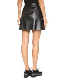 MSGM | Black Faux Leather Skirt | Lyst