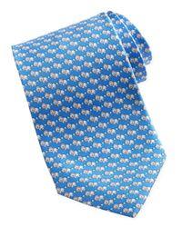 Ferragamo - Lionprint Silk Tie Blue for Men - Lyst