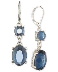 Anne Klein | Blue Double Drop Stone Earrings | Lyst