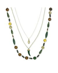 The Sak - Goldtone Green Bead Layered Charm Necklace - Lyst