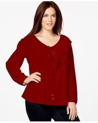 Soprano | Red Plus Size Ruffled Peasant Blouse | Lyst