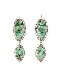 Sylva & Cie | Green One Of A Kind Emerald and Diamond Earrings | Lyst