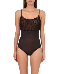 Wolford | Black Lilie Contrast Body | Lyst