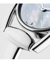 Gucci - Gray Diamond Horsebit Bracelet Stainless Steel Watch - Lyst