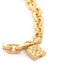 Alexander McQueen Metallic Studded Lock Pendant Chain Bracelet