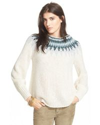 Free People | White 'baltic Fairisle' Sweater | Lyst