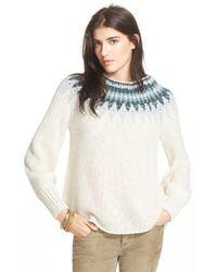 Free People - White 'baltic Fairisle' Sweater - Lyst