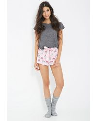 Forever 21 | Pink Cupcake Print Flannel Pj Shorts | Lyst