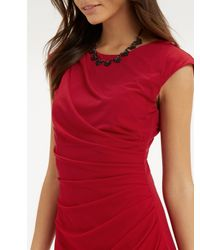 Oasis Red Ruched Pencil Dress