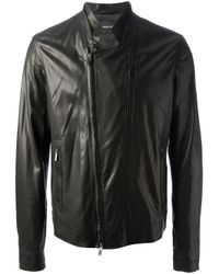 Emporio Armani | Black Biker Jacket for Men | Lyst
