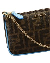 Fendi Blue Clutch Bag Mini Zucca Pu Crossbody With Contrast