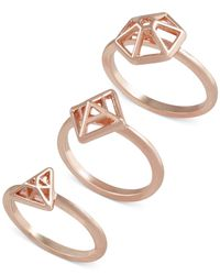 French Connection | Pink Gold-tone Mini-geometric Set Of 3 Rings | Lyst