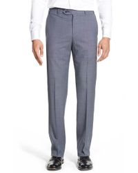 Zanella - Blue 'devon' Flat Front Solid Wool Trousers for Men - Lyst