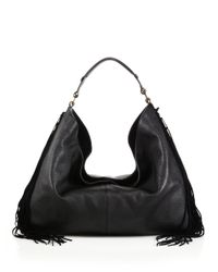 Rebecca Minkoff Black Heavy Laced Oversized Fringed Leather & Suede Hobo Bag