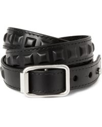Balenciaga - Black Studded Leather Wrap Bracelet for Men - Lyst