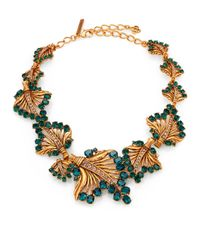 Oscar de la Renta | Green Cutout Jeweled Leaf Necklace | Lyst