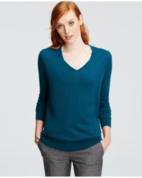 Ann Taylor | Green V-neck Sweater | Lyst