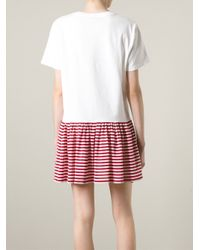 RED Valentino - White Striped Hem T-Shirt Dress - Lyst