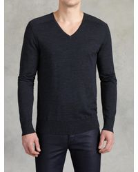 John Varvatos | Blue Superfine Merino Wool Sweater for Men | Lyst