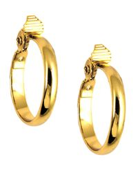 Anne Klein | Metallic Gold-tone Glass Stone Medium Width Hoop Earrings | Lyst