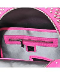 MCM Pink Xmini Stark Special Leather Backpack