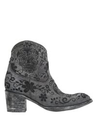 Mexicana Gray 65Mm Klak Suede Embroidered Boots