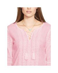 Ralph Lauren | Pink Embroidered Cotton Top | Lyst