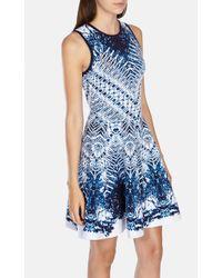Karen Millen Blue Marble Jacquard Full Skirted Knit Dress