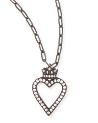 Katie Design Jewelry | Metallic Black Crowned Open Heart Charm Necklace | Lyst