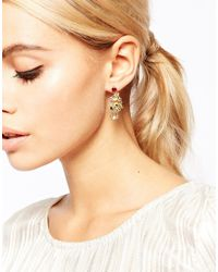 Les Nereides | Metallic Drop Floral Earrings | Lyst