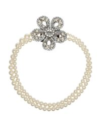 Miu Miu | Blue Silverplated Swarovski Pearl and Crystal Necklace | Lyst