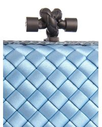 Bottega Veneta Blue Knot Satin And Watersnake Clutch