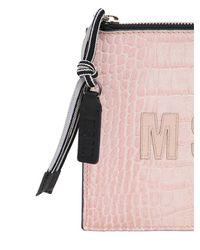 MSGM - Pink Crocodile Embossed Leather Pouch - Lyst