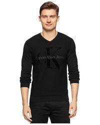 Calvin Klein Jeans | Black Flocked Logo Big & Tall Sweater for Men | Lyst