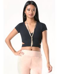 Bebe | Black Cutout Crop Top | Lyst